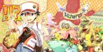 !!? 1boy 1girl baseball_cap black_dress black_hair blue_(pokemon) blue_(pokemon)_(classic) brown_hair butterfree chocolate dress exeggutor farfetch'd hat jynx kangaskhan lickitung machop meowth mew mewtwo paras pidgey pikachu pinsir pokemon pokemon_(game) pokemon_rgby red_(pokemon) red_(pokemon)_(classic) san_(tinami) staryu tinami vaporeon venomoth venusaur