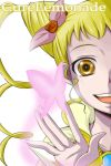 1girl :d bangs blonde_hair brown_eyes butterfly character_name close-up cure_lemonade drill_hair face flower glowing hair_ribbon hands high_collar highres kasugano_urara long_hair magical_girl nishi_koutarou open_mouth out_of_frame precure ribbon rose simple_background sleeves_past_wrists smile solo twin_drills white_background yellow_eyes yes!_precure_5