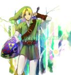 1boy blonde_hair blue_eyes earrings fujino_ko gloves hat jewelry link master_sword ocarina_of_time pointy_ears shield sword title_drop weapon