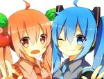 2girls ahoge blue_eyes blue_hair cherry food fruit hatsune_miku multiple_girls necktie noa red_eyes redhead sakura_miku smile twintails vocaloid white_background wink