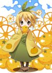 5293150 blonde_hair blush boots covering_mouth food food_themed_clothes four_horizontal_bars fruit hairband headband highres holding holding_fruit looking_at_viewer mittan orange original personification pigeon-toed short_hair shy