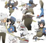 1girl action ass battle black_hair blue_eyes blush bob_cut bodysuit brown_eyes bruise capelet chloe_valens from_behind grey_eyes hat highres injury multiple_persona senel_coolidge short_hair silver_hair sweat sword tales_of_(series) tales_of_legendia weapon zzinzinz