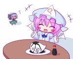 closed_eyes eating fork ghost hitodama holding holding_fork knife konpaku_youmu konpaku_youmu_(ghost) lilywhite_lilyblack myon pink_hair saigyouji_yuyuko soy_sauce touhou