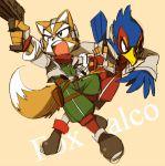 2boys animal bird black_eyes falco_lombardi fox fox_ears fox_mccloud furry gloves gun hawk holster lowres nintendo nintendo_ead sora_(company) star_fox starfox super_smash_bros. super_smash_bros_melee tagme tail weapon