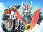 clouds crossed_arms crossover getter_robo highres matchin mazinkaiser mazinkaiser_(robot) mecha shin_getter-1 shin_getter_robo