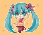 1girl aikashouryou aqua_eyes aqua_hair arm_up bow chibi hair_bow hair_ribbon hatsune_miku long_hair open_mouth ribbon school_uniform serafuku skirt solo star thigh-highs twintails very_long_hair vocaloid