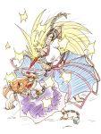 battle blonde_hair horn hoshiguma_yuugi ibuki_suika long_hair oni sakurameguri_shirou sketch touhou