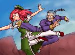 artist_request battle cinnamon_sabaku crossover fighting_stance flying_kick g_gundam gundam hong_meiling kick kicking master_asia pun touhou