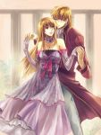 bare_shoulders blonde_hair brother_and_sister choker dancing dress elbow_gloves eltoshan eltoshan_(fire_emblem) fire_emblem fire_emblem:_seisen_no_keifu fire_emblem_genealogy_of_the_holy_war formal gloves hand_holding holding_hands jewelry kaito_(sawayakasawaday) lachesis lachesis_(fire_emblem) long_hair pendant royal sawayakasawaday siblings