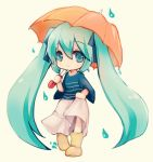 1girl aikashouryou chibi green_eyes green_hair hair_ribbon hatsune_miku long_hair ribbon rubber_boots skirt skirt_hold solo twintails umbrella very_long_hair vocaloid