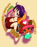 cleavage genderswap hat hotpants large_breasts luffyko monkey_d_luffy one_piece purple_hair scar short_hair short_shorts shorts straw_hat tony_tony_chopper top_hat translated