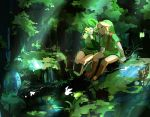 blue_eyes closed_eyes forest green_hair hairband hat link muse_(rainforest) nature nintendo ocarina_of_time pointy_ears saria short_hair the_legend_of_zelda