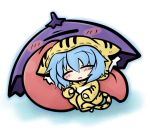 blue_hair chibi costume karakasa karakasa_obake short_hair sleeping tatara_kogasa tiger_costume tiger_print tongue touhou umbrella yanagi_(artist)