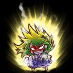 aura chibi detached_sleeves dragon_ball dragon_ball_z fangs green_hair ki kochiya_sanae parody simple_background socha super_saiyan touhou