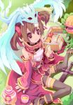 1girl breastplate brown_hair dragon dragon_on_head eating fingerless_gloves gloves picnic pina_(sao) plant red_eyes rudorufu sandwich silica sword sword_art_online thigh-highs twintails weapon