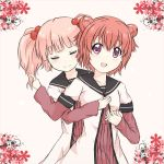 2girls akaza_akari closed_eyes double_bun hug kotaka multiple_girls pink_hair redhead school_uniform serafuku short_hair short_twintails smile twintails uniform yoshikawa_chinatsu yuru_yuri
