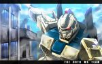 city clouds damaged energy_sword ez-8_gundam glowing glowing_eyes gundam gundam_08th_ms_team highres mecha nekominase no_humans sky smoke sword weapon