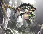 1girl akali aoin breasts brown_hair dual_wielding elbow_gloves gloves greaves green_eyes green_gloves green_legwear hair_tie highres kama_(weapon) league_of_legends long_hair mask ninja pauldrons ponytail sideboob solo thigh-highs vambraces water waterfall