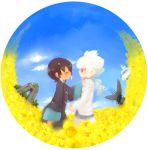 blush closed_eyes clouds fisheye hair_ornament hakuryuu_(inazuma_eleven) inazuma_eleven_(series) inazuma_eleven_go long_hair multicolored_hair red_eyes short_hair shuu_(inazuma_eleven) simple_background sky tobi_(one) two-tone_hair white_background