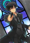 1boy black_eyes black_hair emiya_kiritsugu fate/zero fate_(series) gun handgun solo stained_glass w_m_wannko weapon