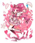 1girl boots cherry_blossoms cure_blossom dress hanasaki_tsubomi heart heartcatch_precure! long_hair magical_girl open_mouth petals pink_eyes pink_hair ponytail precure ribbon ringetsumon smile