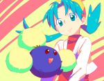 1girl aqua_eyes aqua_hair crystal_(pokemon) hat jumpluff mmm73 pokemon pokemon_(creature) pokemon_(game) pokemon_gsc smile twintails