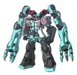 glowing gundam hatsune_miku kuramochi_kyouryuu mecha mechanization no_humans simple_background solo twintails vocaloid white_background zaku_ii