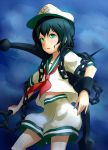 1girl anchor black_hair chain green_eyes hat murasa_minamitsu orange-pengin sailor sailor_collar sailor_hat short_hair solo touhou