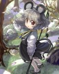 1girl animal_ears basket capelet cherry_blossoms dowsing_rod flower forest gem grass grey_hair highres jewelry looking_at_viewer mouse mouse_ears mouse_tail nature nazrin necklace open_mouth pendant petals red_eyes rock shirt shope short_hair skirt skirt_set solo standing tail touhou tree