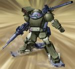 byeontae_jagga cannon clenched_hand dust gun highres machine_gun mecha multishot_rocket_launcher no_humans radio_antenna rocket_launcher rust sand scopedog ski solo soukou_kihei_votoms weapon