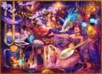 2boys 2girls bird brown_hair closed_eyes crown dress food fruit hair_ornament hat horse instrument jewelry kyouka_hatori long_hair lying multiple_boys multiple_girls open_mouth original short_hair traditional_clothes
