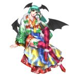 1girl bat_print bat_wings capcom crossed_legs demon_girl fur_trim green_hair haori head_wings high_heels japanese_clothes kimono long_hair morrigan_aensland obi official_art onimusha_soul print_legwear red_eyes red_legwear shoes sitting smile snowman solo succubus thigh-highs vampire_(game) wings zettai_ryouiki