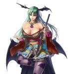 1girl alternate_costume bare_shoulders bat_print breasts cleavage demon_girl detached_collar green_eyes green_hair head_wings highres large_breasts long_hair mismi morrigan_aensland off_shoulder official_art onimusha_soul pantyhose sheath simple_background sitting smile solo string succubus sword unsheathing vampire_(game) weapon