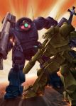 bazooka byeontae_jagga highres mecha no_humans radio_antenna scopedog_ii soukou_kihei_votoms sparks strike_dog weapon