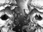 2girls face flandre_scarlet hat kachou monochrome multiple_girls remilia_scarlet short_hair siblings sisters sunglasses touhou