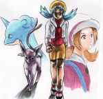 2girls bike_shorts blue_hair brown_hair bust crystal_(pokemon) dual_persona espeon kotone_(pokemon) lapras multiple_girls pokemon pokemon_(game) pokemon_gsc pokemon_hgss simple_background traditional_media twintails wakewaka_ran walking