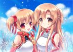 2girls asuna_(sao) breastplate brown_eyes brown_hair fingerless_gloves fukase_ayaka gloves long_hair multiple_girls red_eyes short_hair short_twintails silica sword_art_online twintails yuuki_asuna