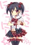 1girl black_hair bow choker earrings ech fingerless_gloves frills gloves hair_bow heart heart_hands highres jewelry looking_at_viewer love_live!_school_idol_project navel_cutout red_eyes short_hair skirt smile solo star thigh-highs twintails yazawa_nico