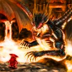 dark_souls demon's_souls dragon dragon_god_(demon's_souls) glowing glowing_eyes highres molten_rock mushroom mushroom_parent no_humans size_difference