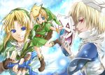 3boys bandages blonde_hair blue_eyes boots clouds dual_persona fingerless_gloves fox_mask gloves iwaki_saori link mask master_sword multiple_boys nintendo ocarina_of_time pointy_ears red_eyes sheik shield sky sword the_legend_of_zelda tunic weapon