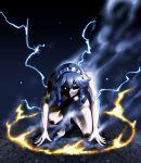 1girl all_fours braid darkness glowing glowing_eye hair_ribbon izayoi_sakuya maid maid_headdress nude red_eye ribbon silver_hair solo sparks terminator touhou twin_braids warugaki_(sk-ii)