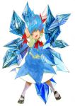 1girl :d arms_behind_head black_shoes blue_eyes blue_hair bowtie cirno floating_hair full_body ice kodamahikari mary_janes open_mouth puffy_short_sleeves puffy_sleeves shoes short_hair short_sleeves skirt skirt_set smile socks solo touhou traditional_media watercolor_(medium) white_background white_legwear