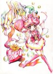 1girl absurdres bell bishoujo_senshi_sailor_moon boots chibi_usa colored_pencil_(medium) crystal full_body hair_ornament hairclip heart helios highres holding horn horse kmmmmmk magical_girl mane pegasus pegasus_(sailor_moon) pink_hair sailor_chibi_moon skirt star super_sailor_chibi_moon tiara traditional_media twintails