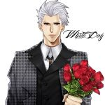 1boy archer bouquet brown_eyes fate/stay_night fate_(series) flower houndstooth mitsuki_mitsuno red_rose rose solo white_day white_hair