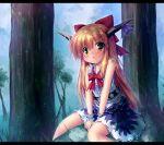 1girl :o blush bow hair_bow horn_bow horns ibuki_suika long_hair looking_at_viewer orange_hair sitting solo takeponi touhou yellow_eyes