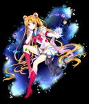 1girl bishoujo_senshi_sailor_moon blonde_hair blue_eyes boots cat double_bun elbow_gloves gloves luna_(sailor_moon) nardack sailor_moon skirt super_sailor_moon tiara tsukino_usagi