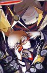 brown_eyes brown_hair glasses hanamura_yousuke harumachi_(natutaka) headphones jiraiya_(persona_4) persona persona_4 school_uniform