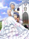 2boys archer bare_shoulders blue_hair blush bridal_veil bride brown_eyes church crossdressing dress earrings fate/stay_night fate_(series) grey_hair jewelry lancer long_hair mitsuki_mitsuno multiple_boys parody petals ponytail veil wedding wedding_dress yaoi