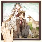 1boy 1girl bare_shoulders blonde_hair bridal_veil brown_hair closed_eyes couple deer dress flower formal happy head_wreath hetero jewelry kagerou_project komo long_hair mary_(kagerou_project) necktie picture_frame rabbit ring seto_(kagerou_project) short_hair smile souzou_forest_(vocaloid) suit veil wedding wedding_dress