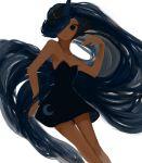 1girl absurdly_long_hair blue_eyes blue_hair crescent_moon dress hair_over_one_eye long_hair luna_(my_little_pony) moon my_little_pony my_little_pony_friendship_is_magic personification short_dress sikakuiyone skinny sleeveless sleeveless_dress solo very_long_hair white_background